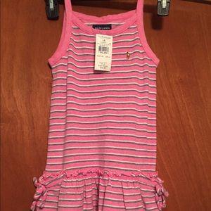 Ralph Lauren Girl dress size 6X knit pink stripes